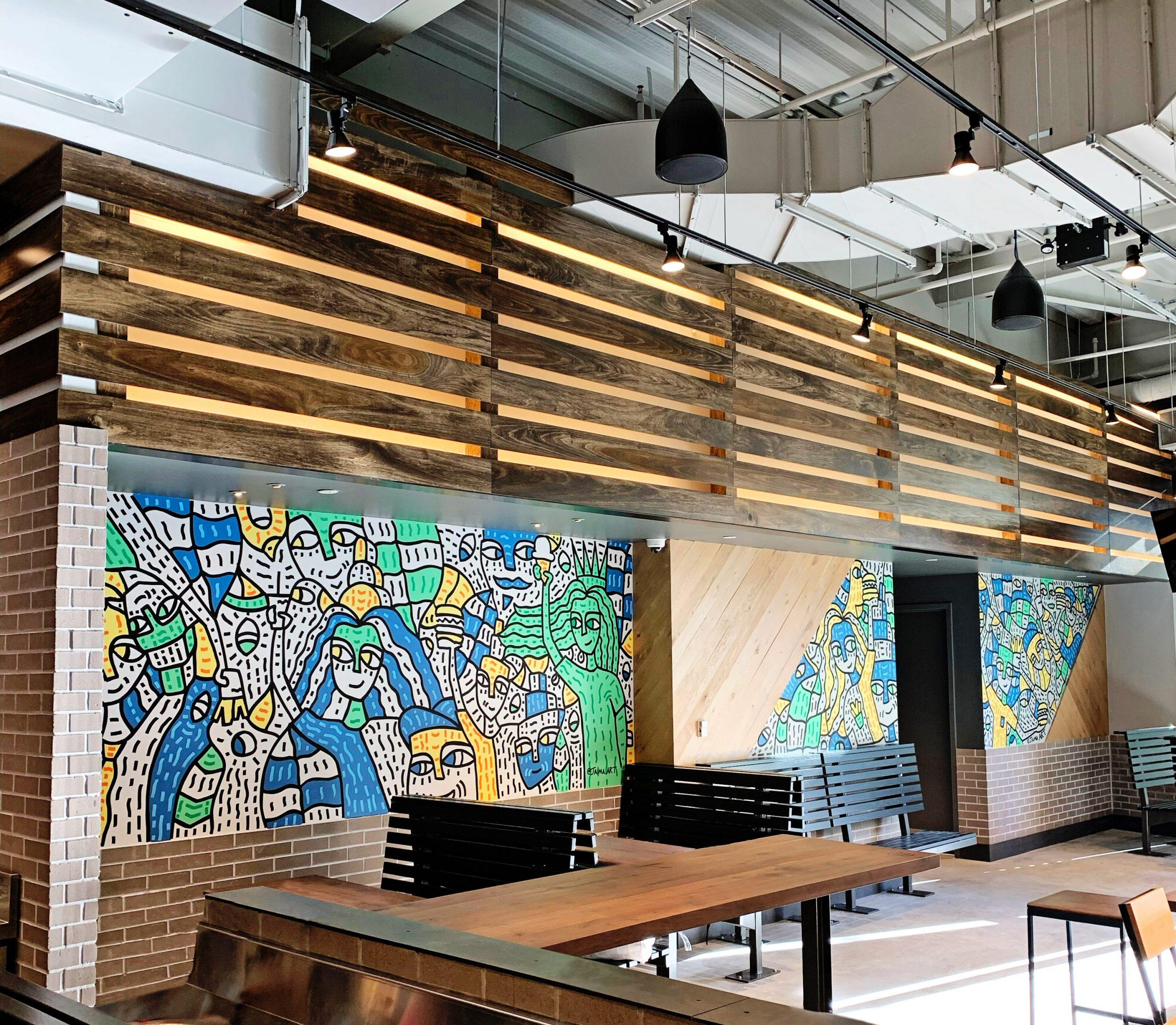 Shake Shack Empire Outlets Mural by Jaima